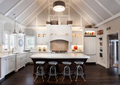 Transitional white kitchen renovation with cathedral ceiling