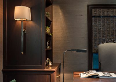 Library office built-in wood custom cabinetry