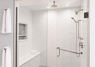White classic master bath shower