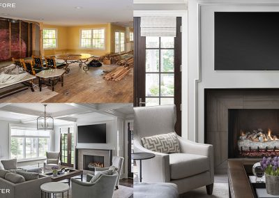 before and after traditional family room renovation