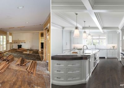 before and after white kitchen renovation