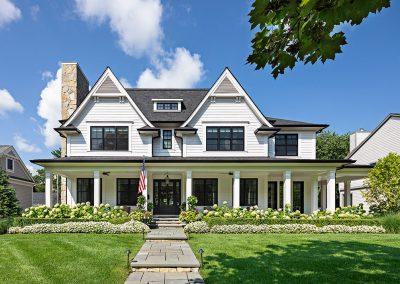White modern farmhouse with black windows