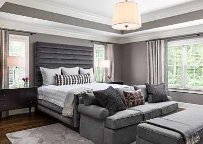Transitional new home master bedroom